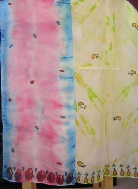 Tie Dye and Hand Printed Silk Scarves