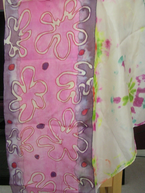 Faux Batik and Tie Dyed Silk Scarves