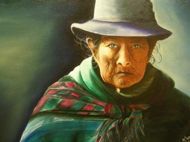 "'Cholita' - a story from the Andes. 18"" x 24"" -  Oil on canvas- Nominated by Art Trends for the ""Artist of the Year 2015"" - (PC)"