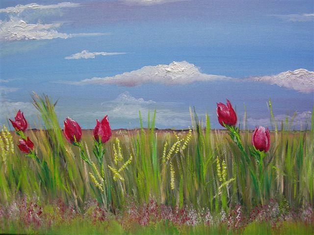 """Field day. 15"""" x 30"""". (Sold)"""