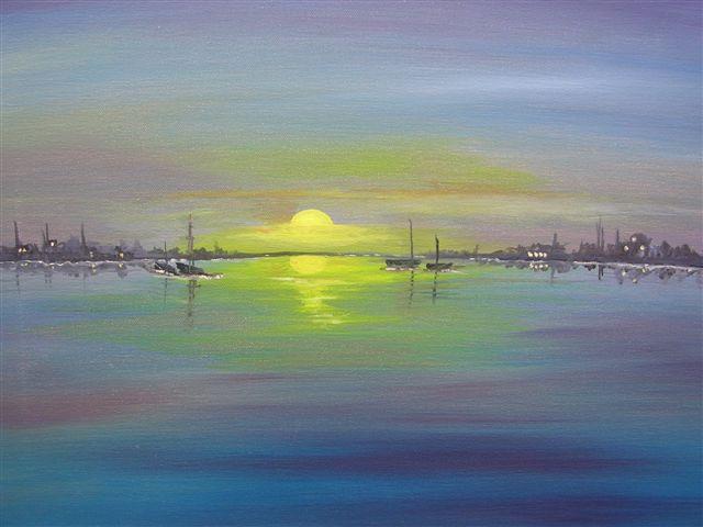 """Blue Horizon 16"""" x 20"""" - Oil on canvas - framed"""