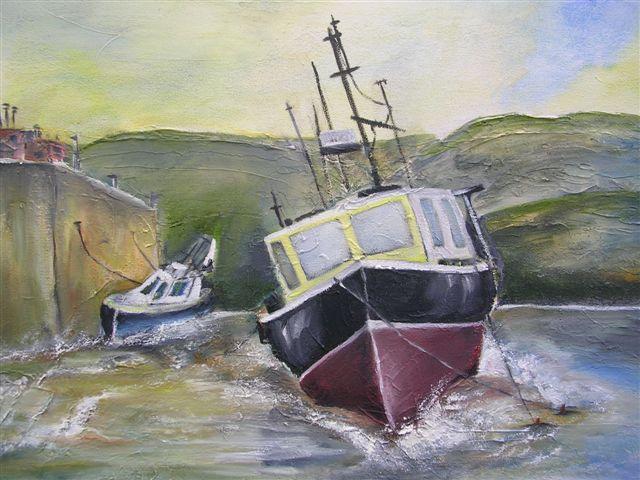 "Docked. 12"" x 16"" - Oil on canvas - framed"