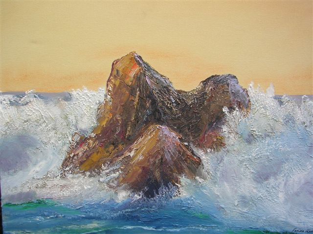 """Surf at Play. 18"""" x 14"""" (Donated for a very worthy cause)"""