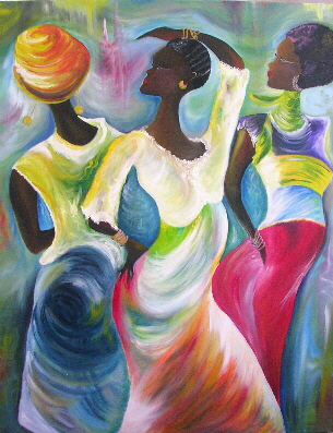 """Dancing Queens 30"""" x 39"""" - Oil on canvas (Inspired by Ikahl Beckford's painting) Private Collection"""