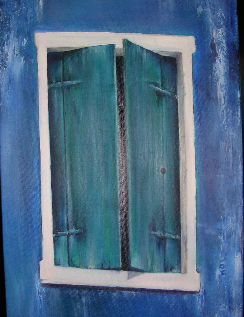 """The Blue Window - 16"""" x 24"""" - Sold"""