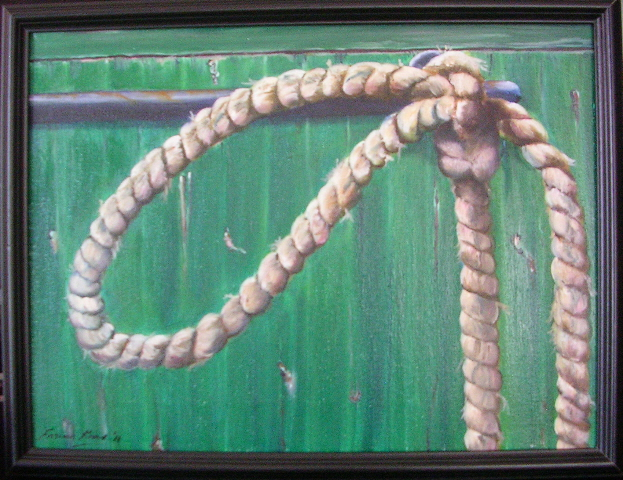"""Roped In - 12"""" x 16"""" - Oil on canvas -framed"""