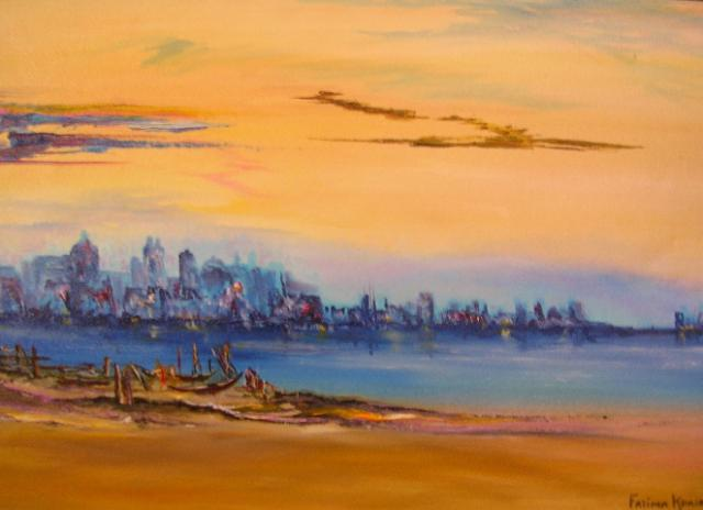 """Day Break 16"""" x 24"""" - Oil on canvas - framed"""