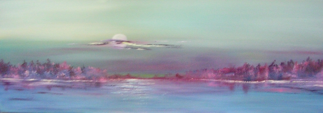 "Purple Haze  10"" x 30"" - Oil on canvas - framed"