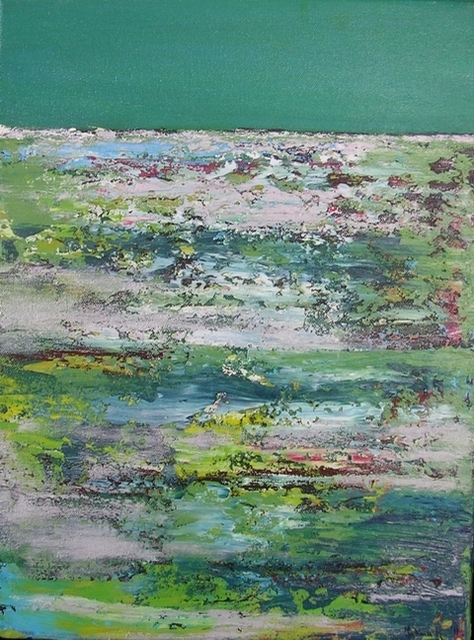 "Textures on Green 12"" x 16"" - Mixed media on canvas -framed"