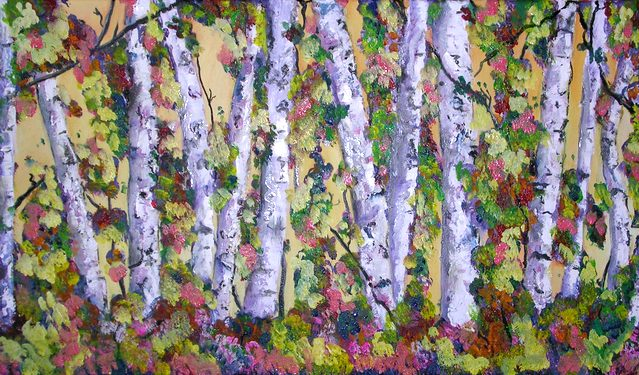 "Tree Party  15"" x 30"" - Mixed media on canvas"