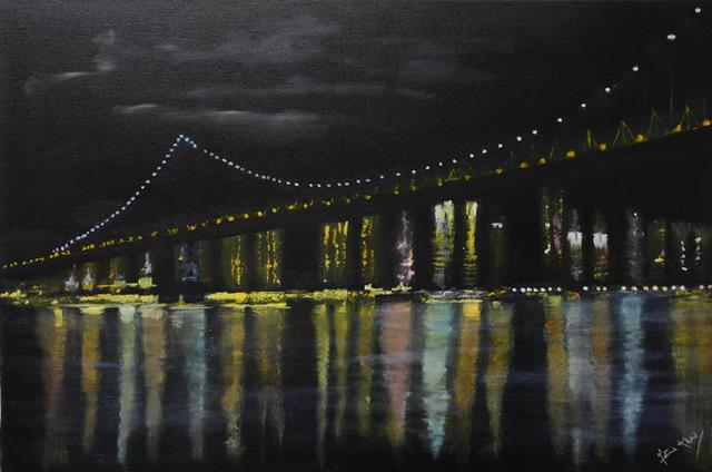 "'The Bridge"" - Mixed media on canvas"