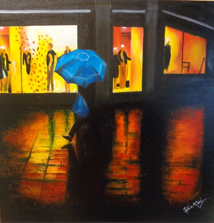 """A Walk in the Rain"" - Mixed media on canvas - Sold :)"